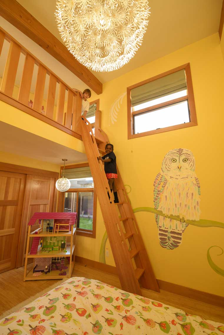Kids sleeping loft with ladder mural