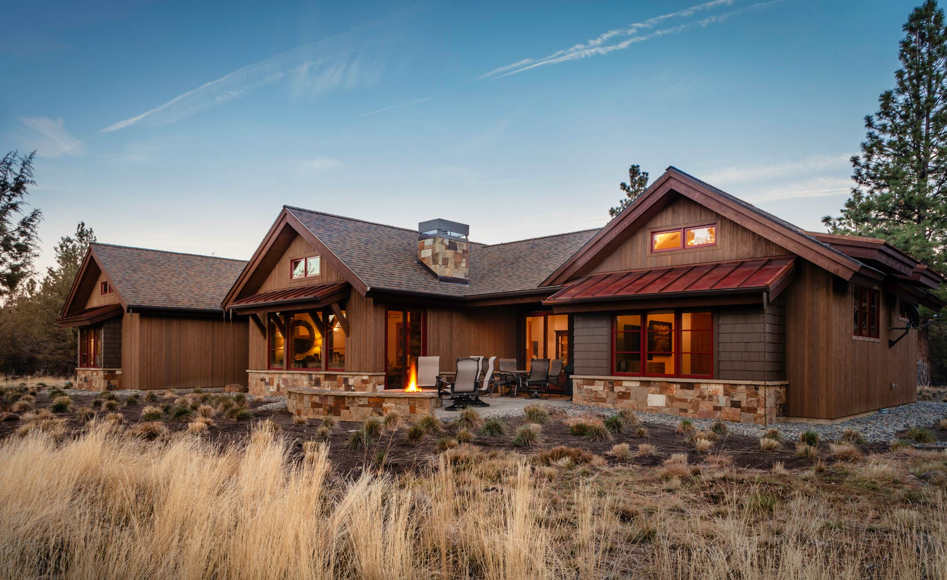 Modern-Ranch-Home-Wood-Siding-Stone