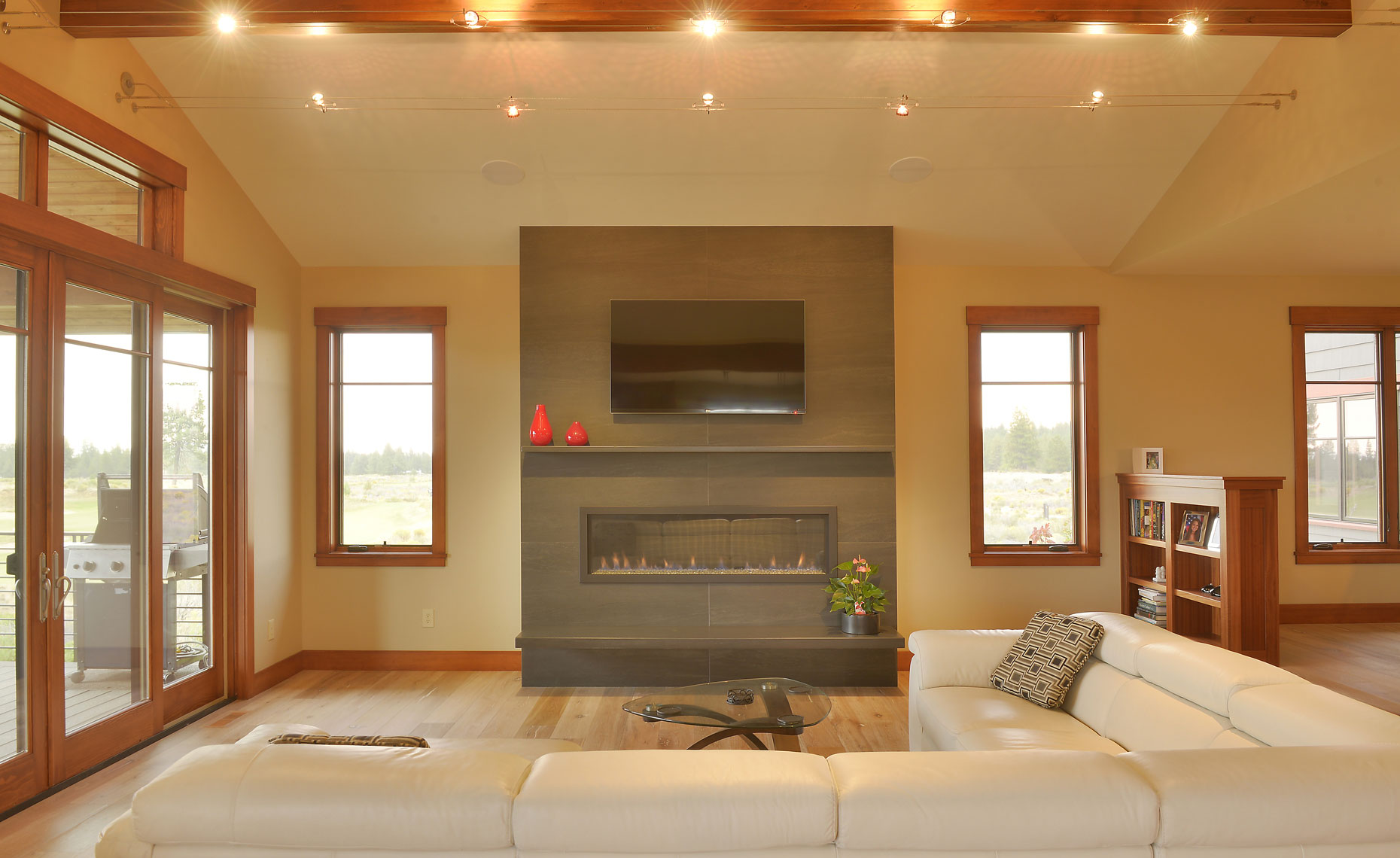 Tetherow home with contemporary fireplace