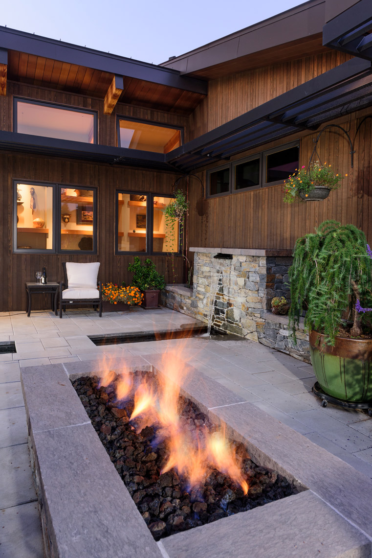 modern stone gas outdoor fireplace