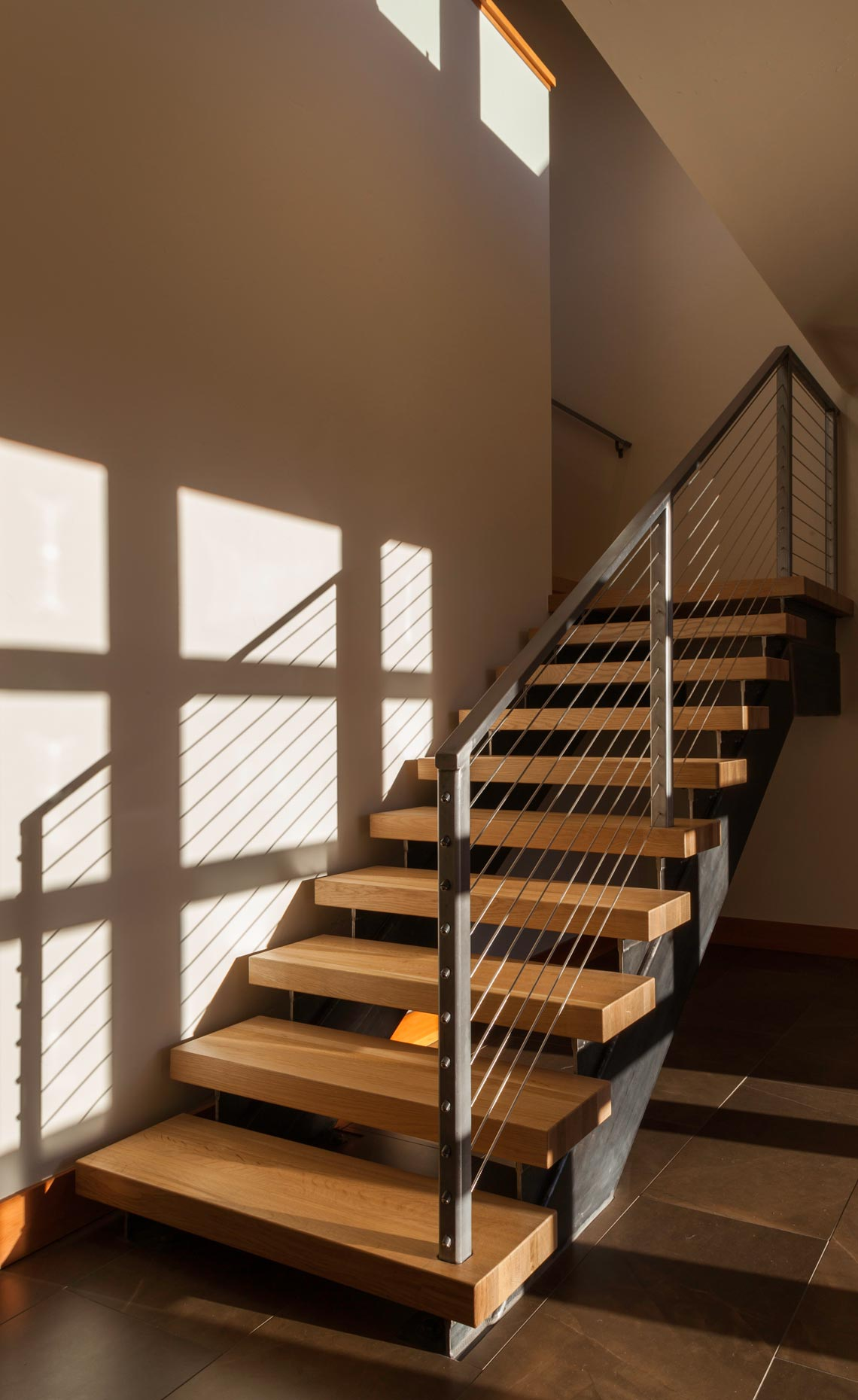 floating stair modern Tetherow home